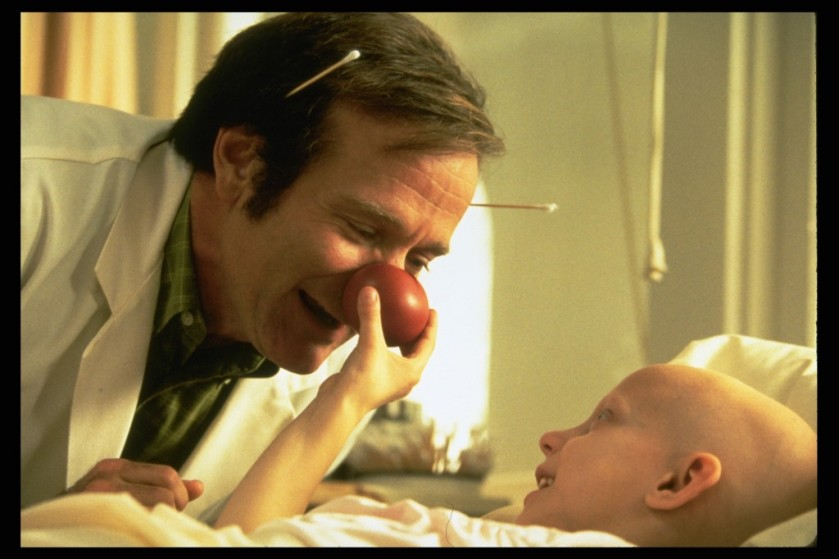 Robin Williams in Patch Adams, where he plays a creative, unconventional doctor